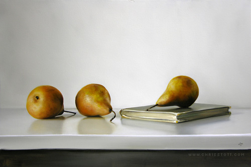 Three Bosc Pears & Antique Book / 16 x 24 / oil on canvas / 2009