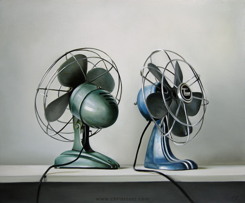 """Two Vintage Electric Fans 20"""" x 24"""" — Oil/Canvas — 2009"""