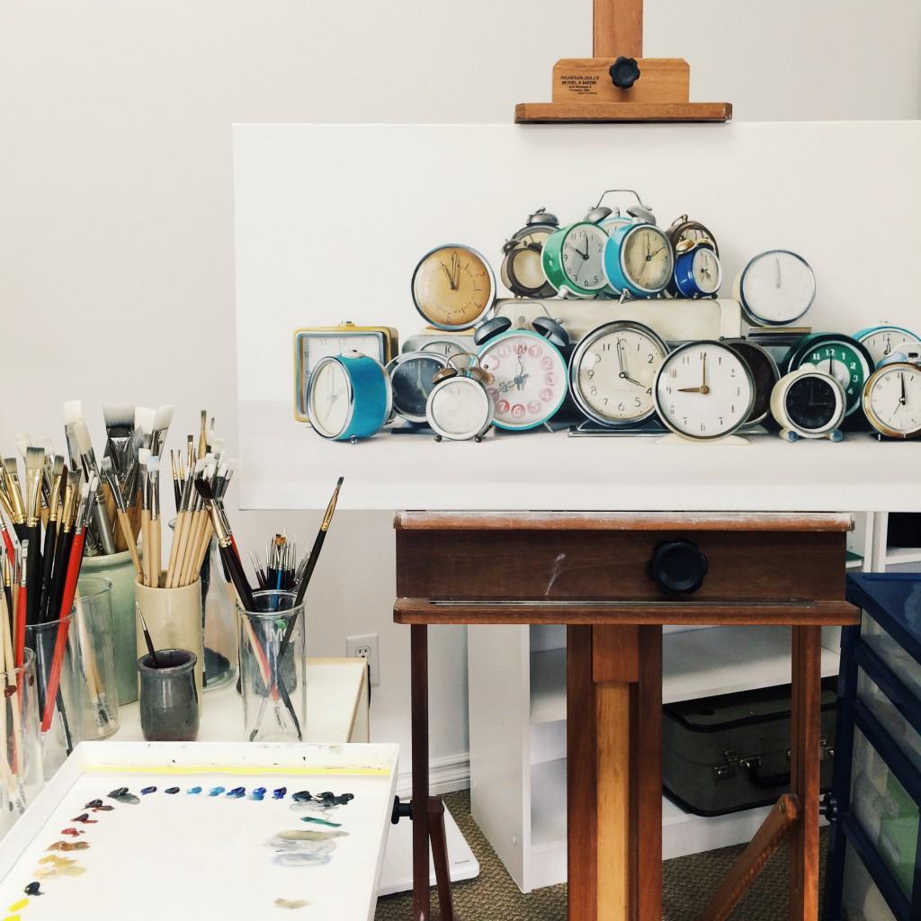 Work in progress — 24 vintage alarm clocks.