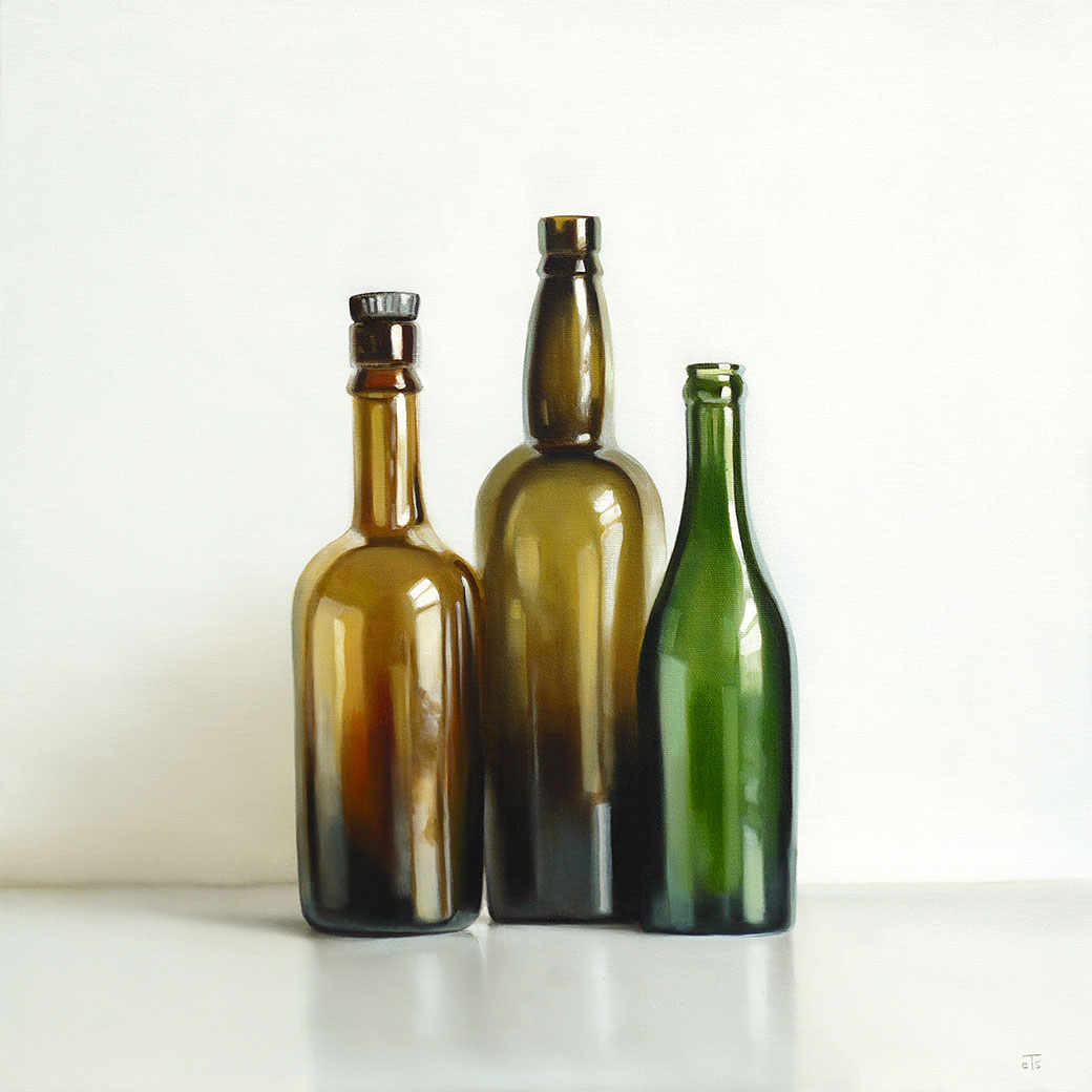 three antique bottles oil painting