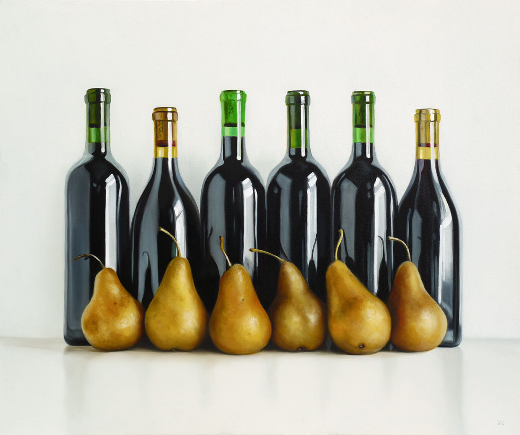 Six bottles and six bosc pears oil painting