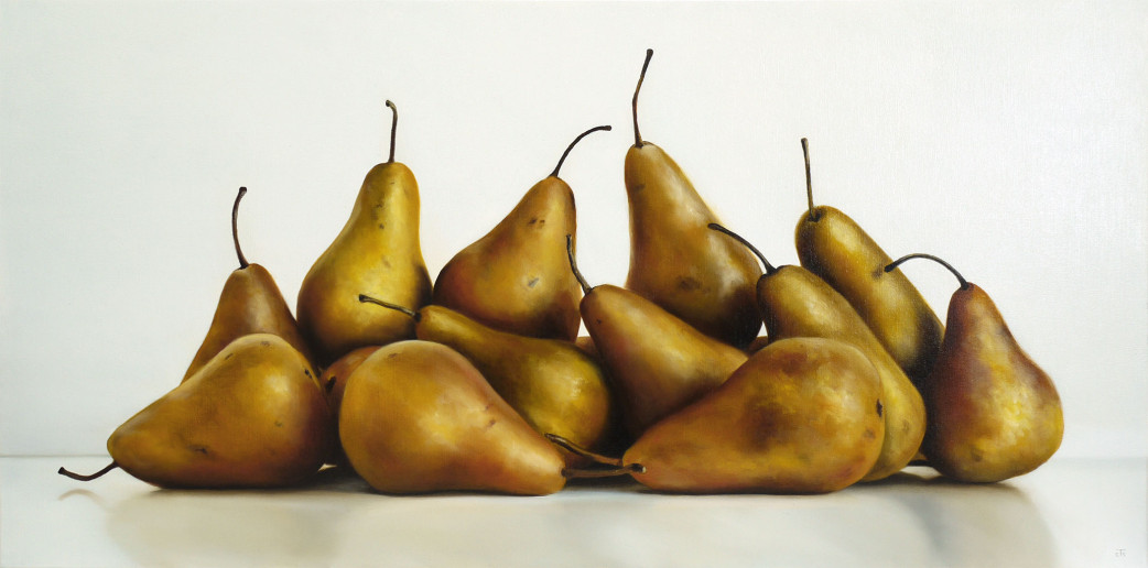 16 pears oil painting