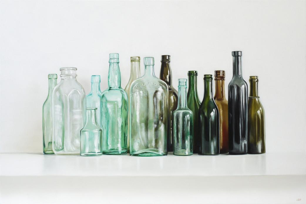 Vintage Bottles Oil Painting by Christopher Stott