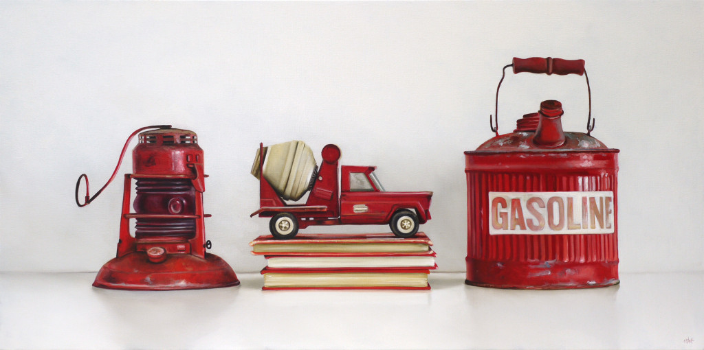 Red Lantern, Tonka Truck, Vintage Gas Can Oil Painting by Christopher Stott