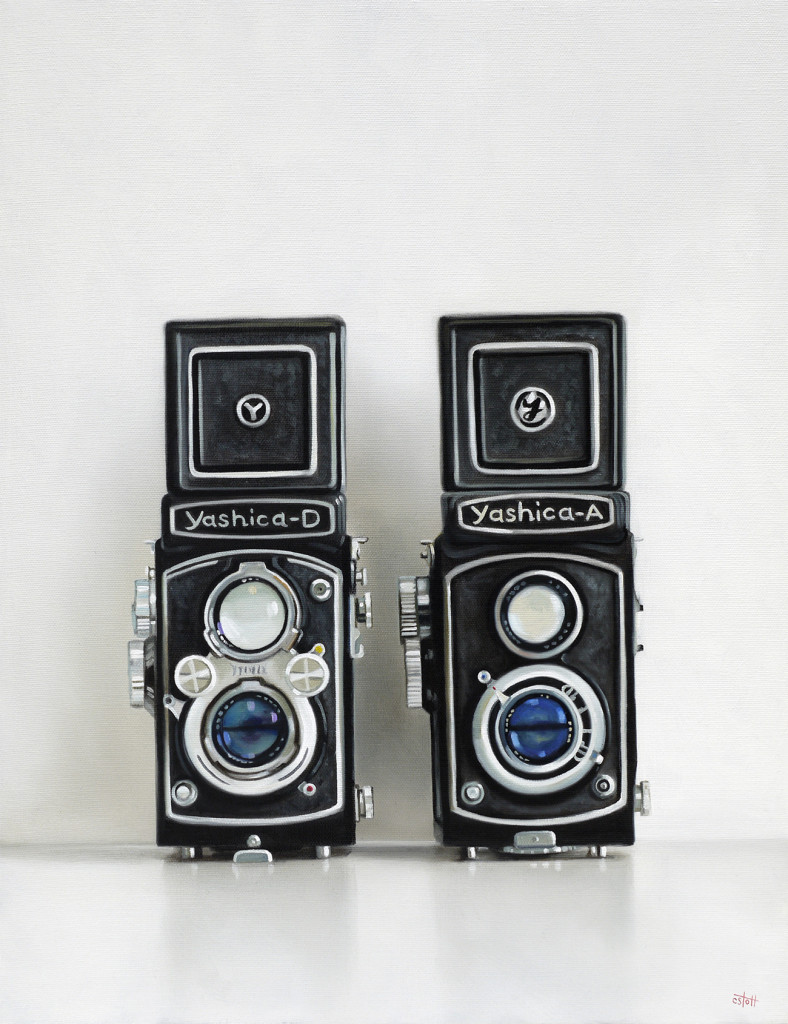 Two Yashica Cameras Oil Painting by Christopher Stott