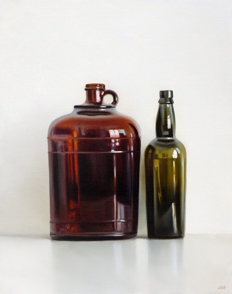 Two Vintage Bottles Oil Painting by Christopher Stott
