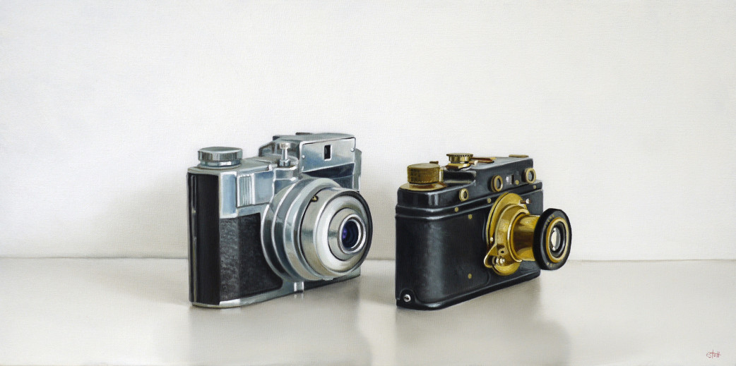 Bencini & Leica Cameras Oil Painting Art Christopher Stott