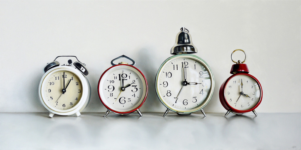 Christopher Stott Painting / Four Vintage Clocks / 18 x 36 / oil on canvas