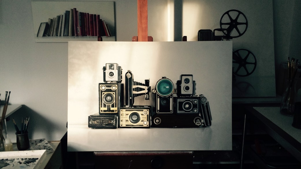 Vintage Camera Painting in Progress
