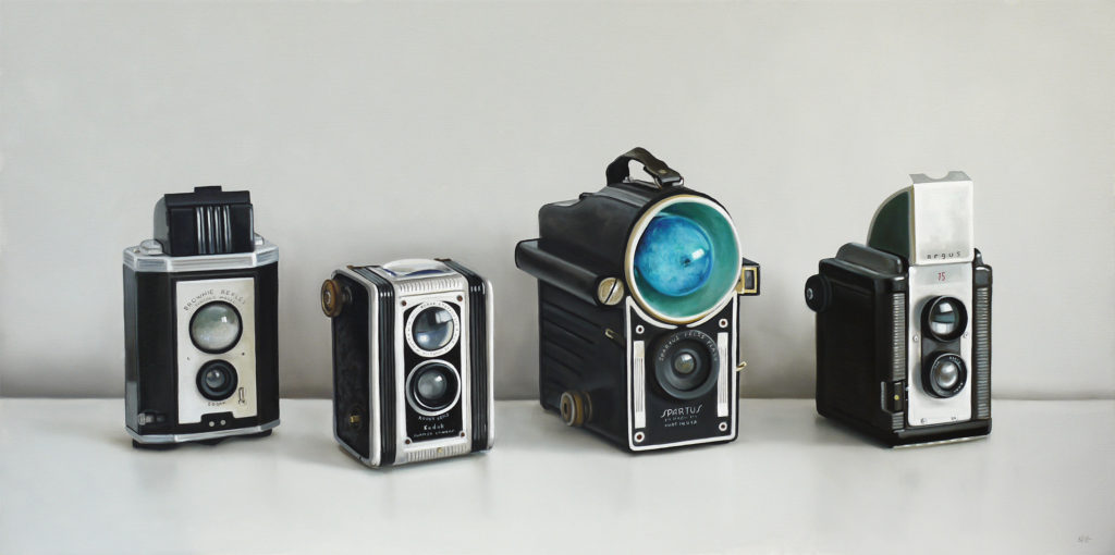 Four Vintage Cameras Oil Painting by Christopher Stott