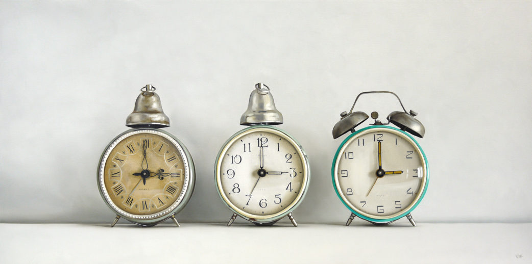 Three Vintage Alarm Clocks Oil Painting by Christopher Stott