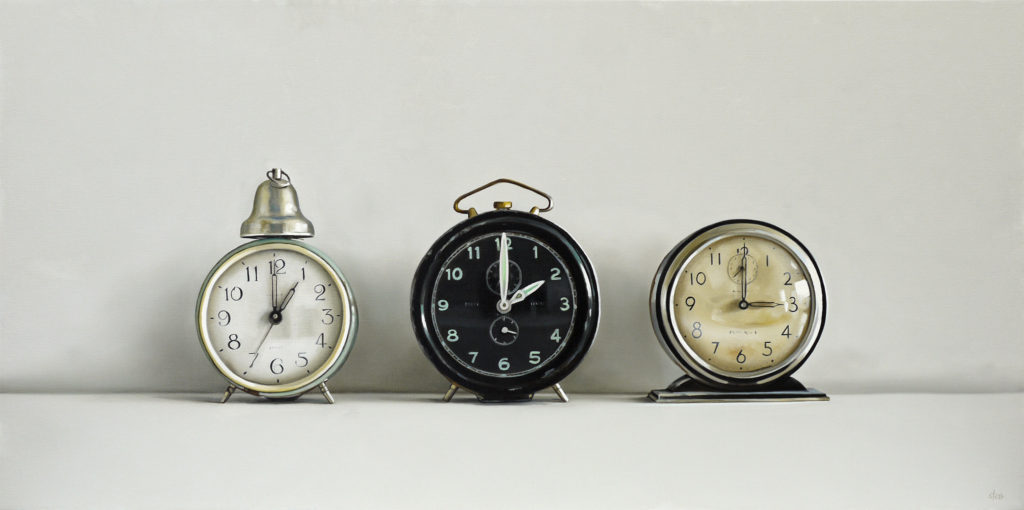 Three Vintage Clocks Oil Painting by Christopher Stott