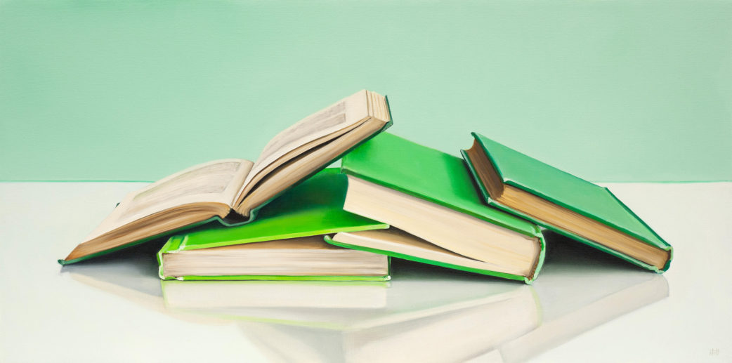 Green Books, Study Painting by Christopher Stott